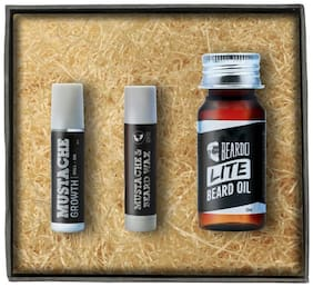 Beardo Lite Beard Oil - Growth Roll On - Wax Stick (Set of 3)