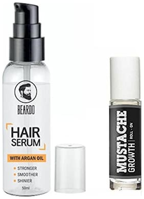 Beardo Mustache Growth Roll On & Beardo Hair Serum With Argan Oil - 50 ml Combo.