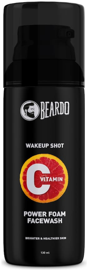 Beardo Skin Brightening Vitamin C Power Foam Face Wash for Men   Ultra Foaming Facewash for Instant Glow & Spot Reduction   Daily use for youthful skin   Suitable for Oily to Sensitive Skin (130ml)