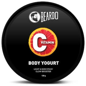 Beardo Vitamin C Body Yogurt for All Day Moisturization | Non-Greasy hydration for Men | Use daily for Brighter, Softer Skin | Easy absorb formula | Suitable for all seasons (120g)