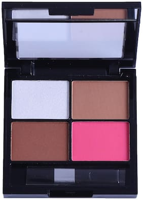Beautica 4in1 Highlighter Blusher Bronzer & Contour Palette(Multi Color)