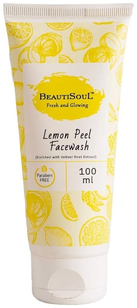 Beautisoul Lemon Peel Face Wash with Pure Lemon peel, Vetiver root and Aloe vera  | Paraben-free | Cruelty-free | IFRA Certified Fragrance