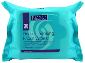 Beauty Formulas Deep Cleansing Facial Wipes for Clear Skin 30 Wipes