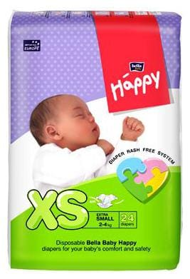 Bella Baby Happy Diapers - Extra Small 24 pcs