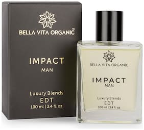 Bella Vita Organic Impact Perfume For Men Scent Long Lasting Fragrance Blended with Fresh, Woody, Citrus & Leathery Aroma, 100 ml