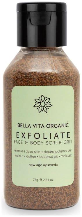 Bella Vita Organic Face & Body Scrub for Skin Brightening De-Tan Ayurveda, Exfoliate Knees, Elbows, Face, Scalp, Arms Etc, 75 g