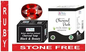 BeSure Activated Charcoal Soap & Activated Charcoal Face Pack- (1 Ruby Stone Free)