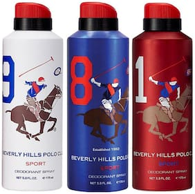 Beverly Hills Polo Club One No. 9, One No. 8, and One No. 1 Deodorant Spray for Men (Pack Of 3)