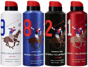Beverly Hills Polo Club One No. 9, One No. 8, One No. 2, and One No. 1 Deodorant Spray for Men (Pack Of 4)