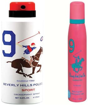 Beverly Hills Polo Club Sport Deodorant Spray No 9 Each (Pack Of 2) For Men Women (325 ml)