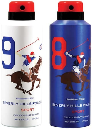 Beverly Hills Polo Club Sport Deodorant Spray No 9 8 (Pack of 2) For Men (350ml)