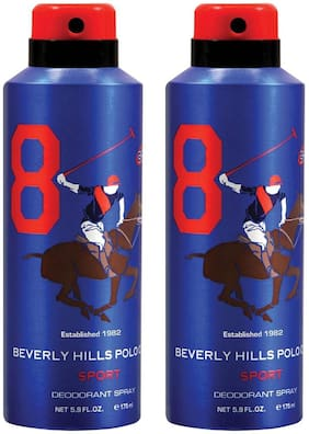 Beverly Hills Polo Club Sport Deodorant Spray No 8 (Pack of 2) For Men (350ml)