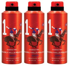 Beverly Hills Polo Club Sport Deodorant Spray No 1 (Pack of 3) For Men 525ml