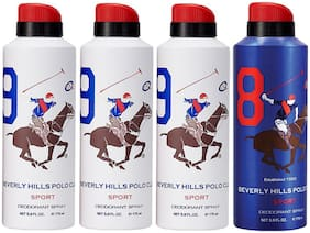 Beverly Hills Polo Club Three No. 9, and One NO. 8 Deodorant Spray for Men
