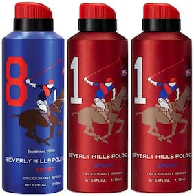 Beverly Hills Polo Club One No. 8, and Two No. 1 Deodorant Spray for Men