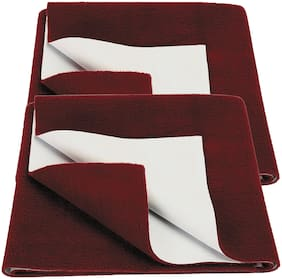 Bey Bee Bed Protector Sheet Maroon (Medium Pack of 2 )