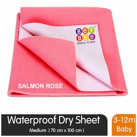 Bey Bee Bey Bee Quick Dry Baby Bed Protector Waterproof Sheet (Salmon Rose) {Medium} {Size: 100Cm X 70Cm}