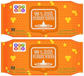 Bey Bee - Hypoallergenic Baby Water Wipes for New Born Babies (2 Pack 160 Water wet wipes)