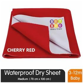 Bey bee Just Dry Waterproof Bed Protector Sheet - Medium (Red)