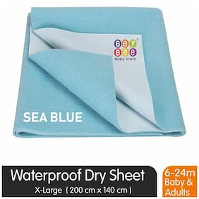 Bey bee Just Dry Baby Care Waterproof Double Bed Protector Sheet - X-Large (Sea Blue)
