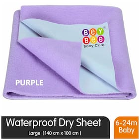 Bey bee Just Dry Waterproof Bed Protector Sheet - Large (Violet/Purple)