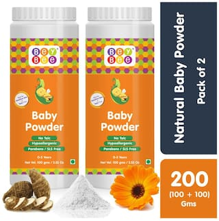 Bey Bee : Natural Hypoallergenic, Parabens, Talc and SLS Free Dusting Powder for Babies Pack of 2 (Each 100g)