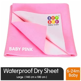 Bey bee Premium Quick Dry Mattress Protector Baby Cot Sheet (Large;Pink)