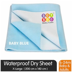 Bey bee Premium Quick Dry Mattress Protector Baby Cot Sheet (X-Large;Blue)