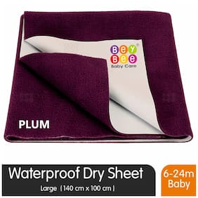 Bey bee Premium Quick Dry Mattress Protector Baby Cot Sheet Large Size (Plum)