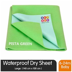 Bey bee Premium Quick Dry Mattress Protector Baby Cot Sheet (Large;Light Green)