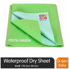 Bey bee Premium Quick Dry Mattress Protector Baby Cot Sheet (Small;Light Green)