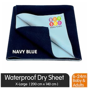 Bey bee Premium Quick Dry Mattress Protector Baby Cot Sheet (X-Large;Dark Blue)