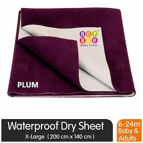 Bey bee Premium Quick Dry Mattress Protector Baby Cot Sheet (X-Large;Plum)
