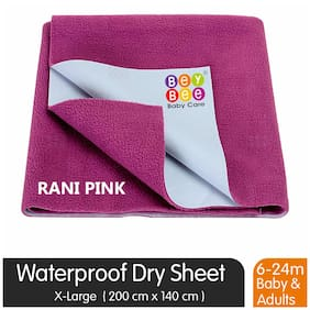 Bey bee Premium Quick Dry Mattress Protector Baby Cot Sheet (X-Large;Rani Pink)