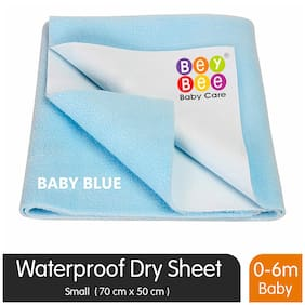 Bey bee Premium Quick Dry Mattress Protector Baby Cot Sheet (Small;Blue)