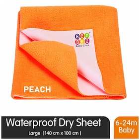 Bey bee Premium Quick Dry Mattress Protector Baby Cot Sheet (Large;Peach)