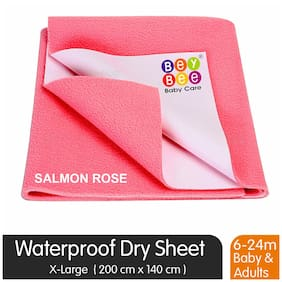 Bey bee Premium Quick Dry Mattress Protector Baby Cot Sheet (X-Large;Salmon Rose)