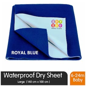 Bey bee Premium Quick Dry Mattress Protector Baby Cot Sheet Large Size (Royal Blue)