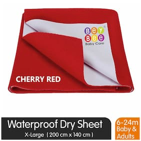 Bey bee Premium Quick Dry Mattress Protector Single Bed Dry Sheet - X-Large (Red)