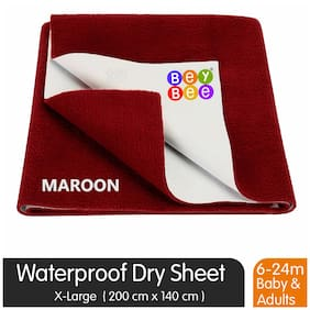 Bey bee Premium Quick Dry Mattress Protector Baby Cot Sheet (X-Large;Maroon)