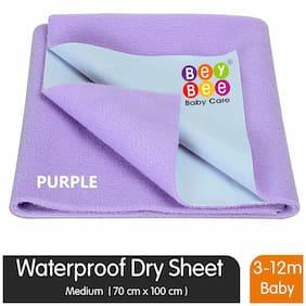 Bey bee Premium Quick Dry Mattress Protector Baby Cot Sheet (Medium;Purple)