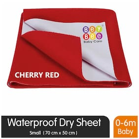 Bey bee Premium Quick Dry Mattress Protector Baby Cot Sheet (Small;Red)