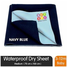 Bey bee Premium Quick Dry Mattress Protector Baby Cot Sheet Medium Size (Dark Blue)