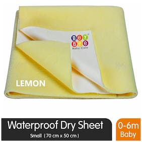 Bey Bee Quick Dry Waterproof Reusable Underpads/Crib Sheet/Cot Mat/Bassinet Mat (Small;Yellow)