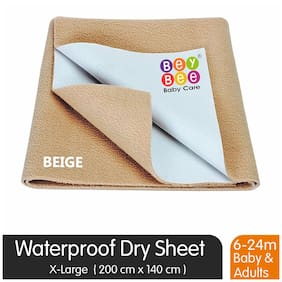 Bey bee Quick Dry Waterproof Double Bed Protector Dry Sheet - X-Large (Beige)