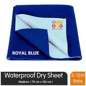 Bey Bee Waterproof Bed Protector for New Born Babies and Kids Medium Size Royal Blue
