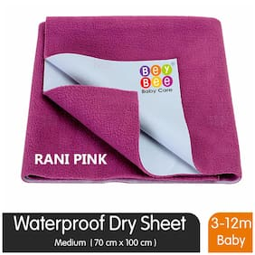 Bey bee Waterproof Bed Protector for New Born Babies and Kids (Medium;Rani Pink)