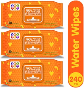 Bey Bee Water Base Baby Wipes For Sensitive SkinWith Fliptop Lid 80 Wipes (Pack of 3)
