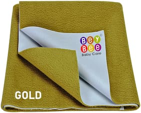 Bey bee Waterproof Baby Bed Protector Dry Sheet for New Born Babies (Large (140cm X 100cm);Gold)