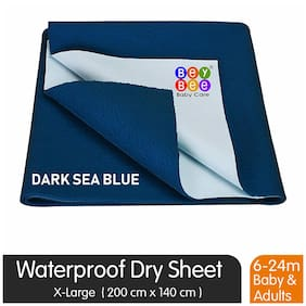 Bey bee Water Resistant Bed Protector Baby Dry Sheet with Ultra absorbance -X-Large(200 cm X 140 cm);Dark Sea Blue